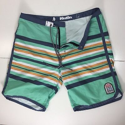Katin Board shorts Custom Surf Trunks Mens Size 32 Scalloped Green Striped Patch