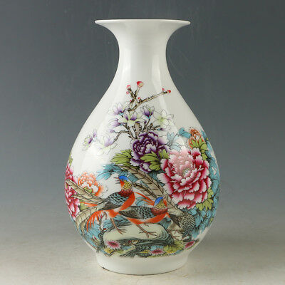 Chinese Porcelain Hand-painted Flower & Bird Vase W Qianlong Mark R1171