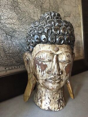 Large Vintage Timber Buddha Head