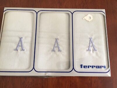 Set of new Vintage Retro -  Handkerchiefs - Letter A - Embroidered