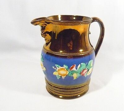 Antique COPPER LUSTREWARE  JUG PITCHER 6 inch Embossed Flowers MASK SPOUT