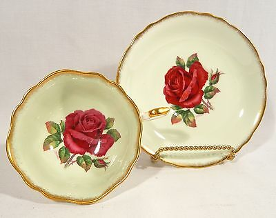 Paragon Signed R.Johnson TEA CUP & SAUCER Double Warrant LARGE  RED CABBAGE ROSE