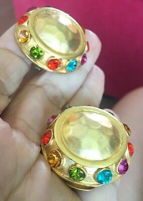 STUNNING VTG 80s 90s RUNWAY COUTURE MATTE GOLD MULTI RHINESTONE DOME EARRINGS