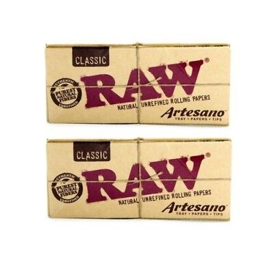 2x AUTHENTIC RAW Classic Artesano King Size Slim Rolling Paper Tips Tray Natural