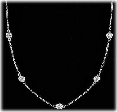 1.44 ct Round Diamonds By The Yard Platinum Necklace 9 x 0.16 ct F-G VS/SI1