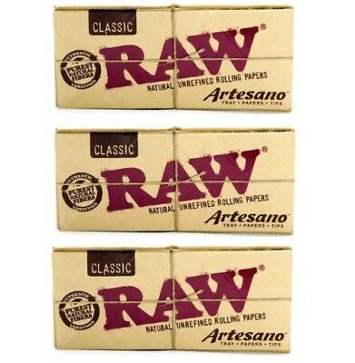 3x AUTHENTIC RAW Classic Artesano King Size Slim Rolling Paper Tips Tray Natural