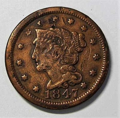 1847 U.S. Large Braided Head Cent * Better Grade * A Nice Type For Book