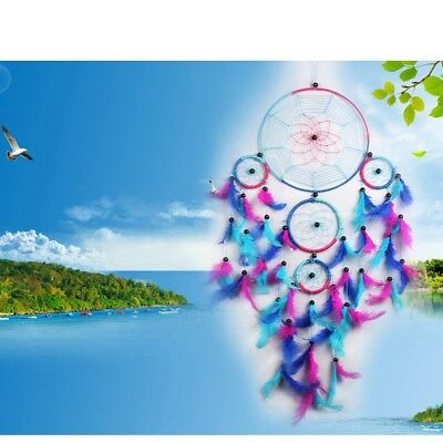 1PC Blue Beautiful Traditional Handmade Dream Catcher with Feathers Mascot Gifts