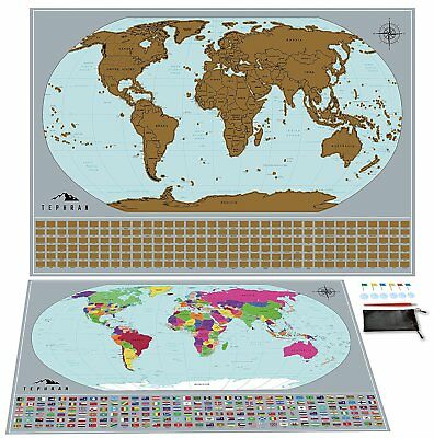 Scratch Off World Map Poster 17 x 24 w/Bundle Kit (scratcher, pins, tape, bag)
