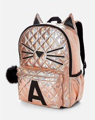 NWT Justice Backpack Gold Cat Quilted Style-Letter ~A~Full Size Gold Backpack!