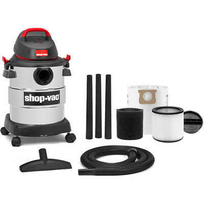 Shop Vac 6 Gallon Stainless Steel 4.5 Peak HP wet dry vac onboard tool storage