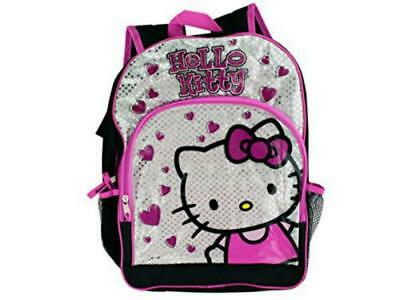 Black Pink Hello Kitty Hearts Backpack Great For School Travel Multiple Pockets