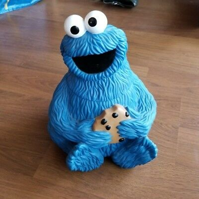 "Sesame Street COOKIE MONSTER Vintage 11"" COOKIE JAR 1997"