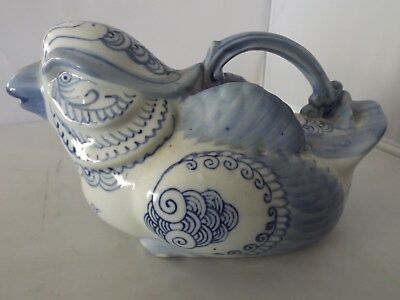 Antique Chinese Vietnamese Style Bleu De Hue Porcelain Bird Wine Pot