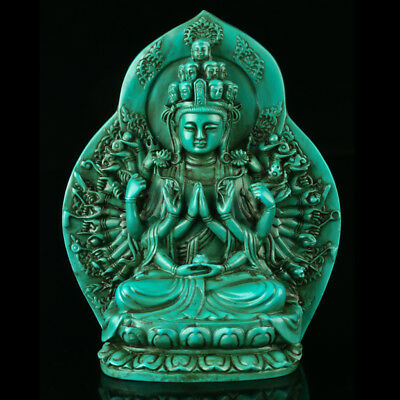 Chinese Turquoise Hand-carved Thousand-hand Kwan-yin Statue R4020+b