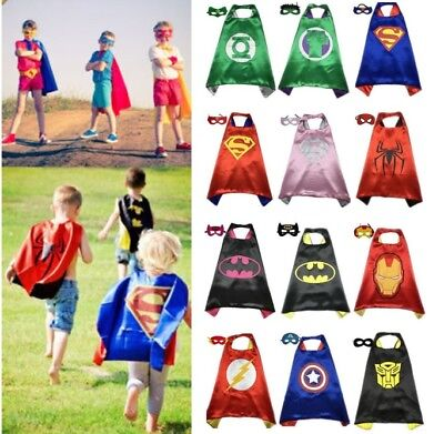 Kids Superhero Capes Masks Costume Set for Girls Boys Spiderman Captain America