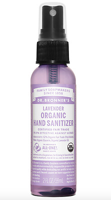Dr Bronner Organic Hand Sanitizer Lavender essential oil Spray Sanitiser