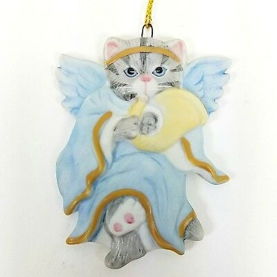 1987 Schmid Kitty Cucumber Christmas Ornament Flat Blue Angel With French Horn