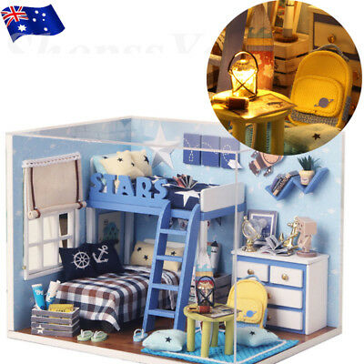 DIY Cabin Starry Sky Doll House Miniature Dollhouse With Furniture Kit Xmas Gift