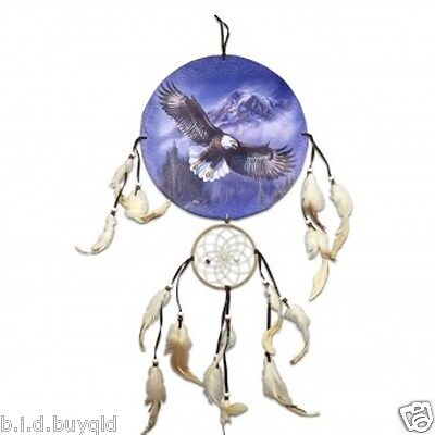 DREAMCATCHER with feathers + Eagle in flight and snow capped mountains Canvas
