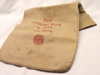 Vintage Cloth/Canvas Coin/Money Bag First National Bank in Peru, IL