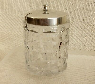 Beautiful Vintage Silver Plated & Cut Glass Preserve Jar English EPNS PLATE 4.5""
