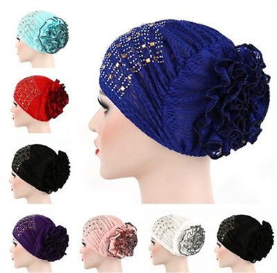 Muslim Inner Hat Flower UnderScarf Hijab Islam Hot Drilling Bonnet Caps Headwrap