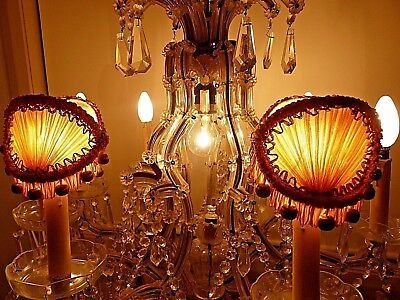 ANTIQUE 1920's FRENCH SILK FESTOONED LAMP SHADES - METALLIC FRENCH SILVER TRIM