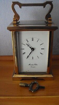 Morrell+Hilton Huntingdon Brass 8 Day Carriage Clock With Key