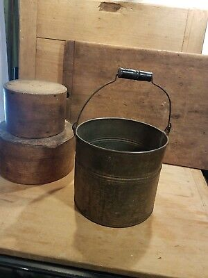 Antique Primitive Late 19Th Or Early 20Th C Old Tin Pail With Wood Bail Handle