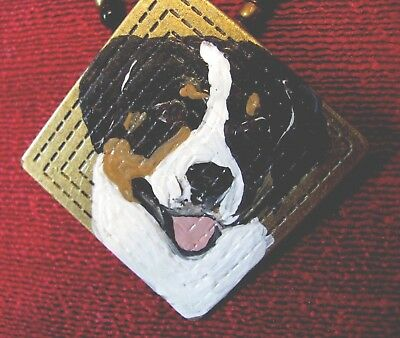 Greater Swiss Mountain Dog hand painted on square metal pendant/bead/necklace