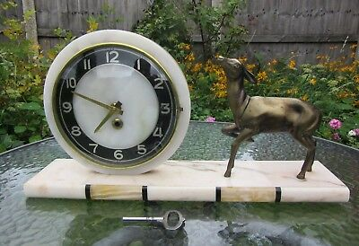 Large French Art Deco Mantle Clock Marble with a Deer  Working