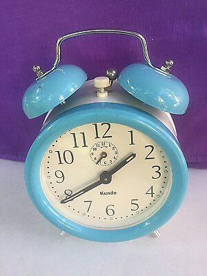Vintage Mechanical Alarm Clock Kundo Japan Rare Collectible With Bells