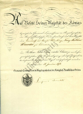 Prussian Red Eagle Order 4th Class Document dated 1872 with Preliminary Document