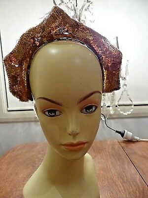 1920s GOLD SEQUIN - NET - LAME - SILVER WIRED HEADPIECE
