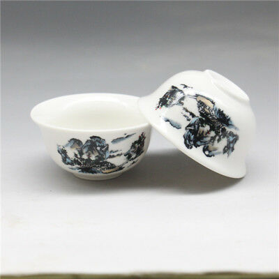 2 Pcs Chinese porcelain  landscapes Gongfu Sample Tea cups