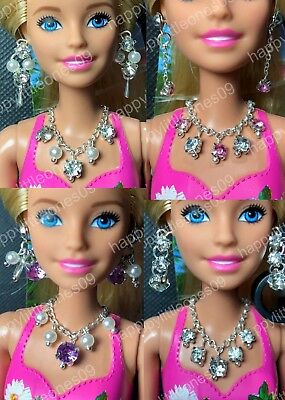 Handmade Necklace and Earrings Set for Barbie Doll Dress/Outfit Multi DesignsNew