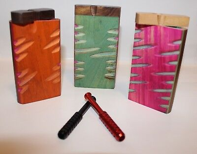 Pack Of Two Wooden Dugouts With Metal Bat Or Cigarette, Assorted Designs