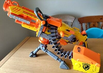 Nerf N-Strike Havok Fire Vulcan Ebf-25 Automatic Gun With Ammo Case And Tripod