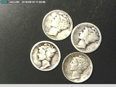 Set Of Mercury Dimes With A ,1920 D,1923 P,1923 S,1928 S Silver Coins