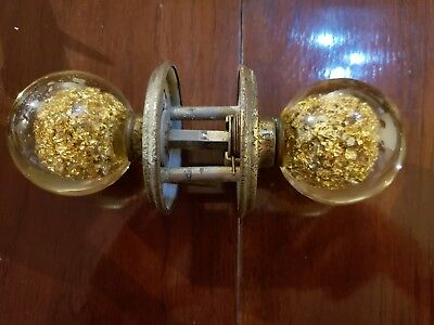 Vintage Lucite & Gold Flake Door Knob Fake Gold Fools Gold