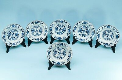 6 CHINESE BLUE & WHITE EXPORT PORCELAIN PLATES FLOWERS QIANLONG PERIOD 18th C.