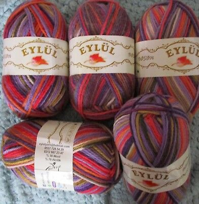 DK knitting wool yarn 5 x 100g pack Multi-colours selling my stash at low prices
