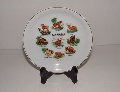 Canada Wild Animals Decorative Plate (Saucer), Age Unknown, w/ Stand, pre-owned