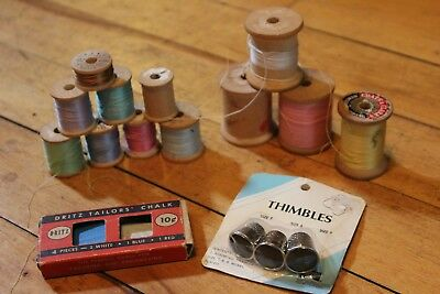 Vintage wooden  spool and thimbles