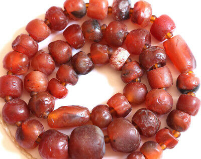 ROMAN ERA, Ancient Natural Carnelian Beaded Necklace, Agate Beads Strand