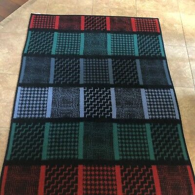 Biederlack blanket, large check, plaid pattern 72 x 56 inches, red, green. blue