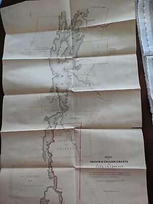 Map of the French & English Grants on Lake Champlain Approx Late 1700's
