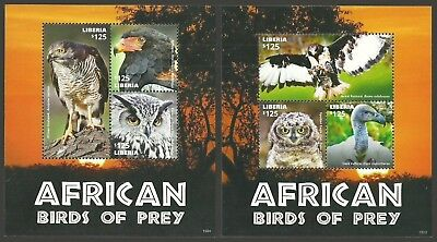 Liberia 2015 Birds Of Prey Owl Goshawk Eagle Vulture Set Of 2 Sheets Mnh