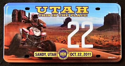 "ALPCA / UTAH "" MONUMENT VALLEY - ATV - # 22  "" UT Graphic Licence Plate"